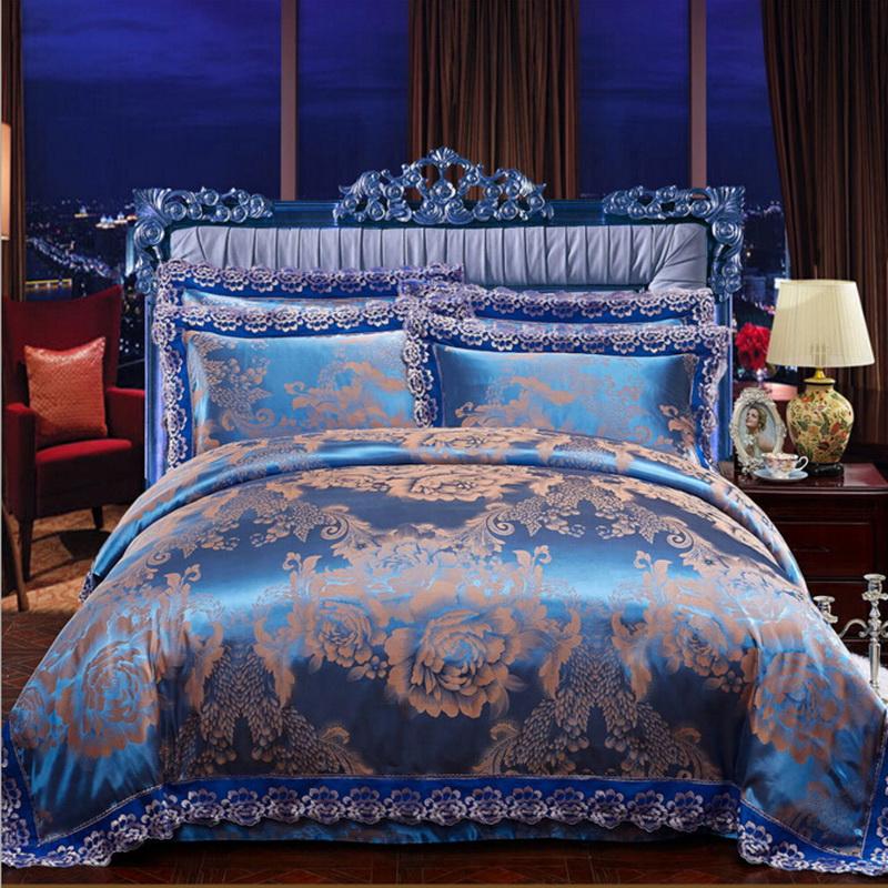 别样年华蓝色富安娜四件套 纯棉天丝莫代尔4件套 欧式
