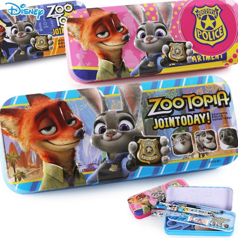 儿童文具盒男生迪士尼疯狂动物城卡通铁笔盒创意韩国学生铅笔盒