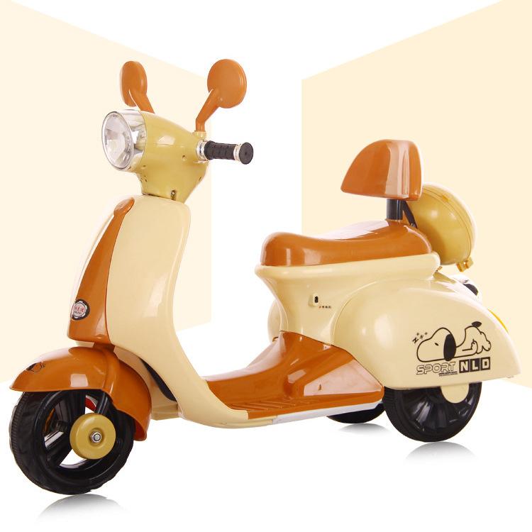 电动车摩托车宝宝三轮车女孩小木兰女童车充电灯光-云