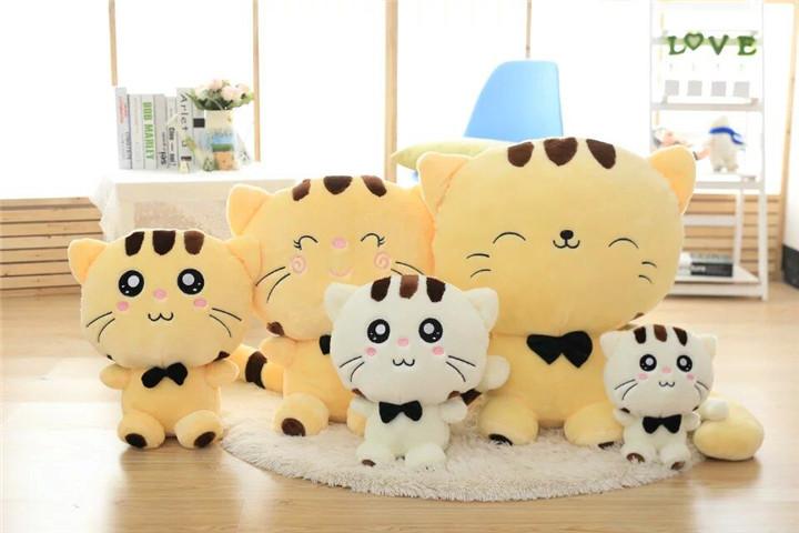毛绒玩具 大脸猫公仔布娃娃饭团猫玩偶招财猫咪 米黄色可爱款 可选
