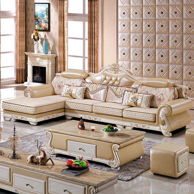 俏夫人 欧式布艺沙发客厅实木转角贵妃组合可拆洗布沙发